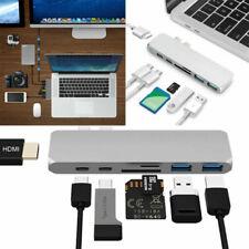 Silver USB-C Hub Dual Adapter Card Reader 4K HDMI Type-C For MacBook Pro/Air UK