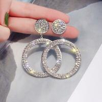 Fashion 925 Silver Plated Hoop Jewelry A Pair/set Earrings Dangle Women Gold