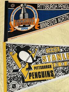 Vintage 1991 1992 Pittsburgh Penguins STANLEY CUP Champions Pennant Wincraft