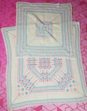 Lot of 2 26 & 35  Baby Girl Boy Homemade Blue Pink Ivory Yarn Gift Throw Blanket