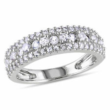 Sterling Silver White Sapphire Anniversary Ring