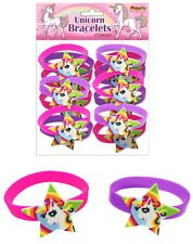 Unicorn Bracelets Bands Girls Birthday Party Jewellery Loot Bag Fillers Favours