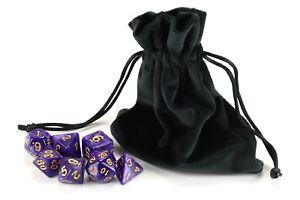 PREMIUM 7 DIE POLYHEDRAL GAME DICE SET Pouch Bag Poly Colours D20 RPG D&D DND UK
