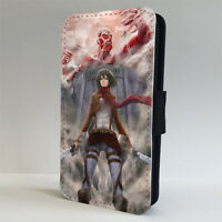 ATTACK ON TITAN ANIME MANGA LEATHER FLIP PHONE CASE COVER for iPHONE 4 5 6 7 8 x