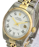 Rolex Datejust Mens 18K Yellow Gold & Steel Watch White Roman Dial Jubilee 16013