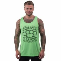 Mens Holiday Vest Low Cut Tank Top Knuckle Duster Gangster Design Rave Clothing