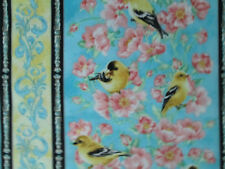 BIRDS FLOWERS CANARY BIRD YELLOW BORDER PRINT COTTON FABRIC FQ