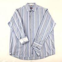 Luciano Visconti Mens 2XL Long Sleeve Button Down Dress Shirt Blue White Stripe