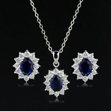 Blue Simulated Sapphire Zirconia Ellipse Set Necklace Earrings White Gold Plated