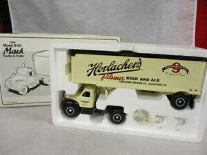 Vintage First Gear 1960 Mack Truck B-61 Tractor Trailer Horlacher's Beer MIB