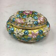 Joan Rivers Floral Trinket Keepsake Box Yellow Blue Pink Gift Treasure