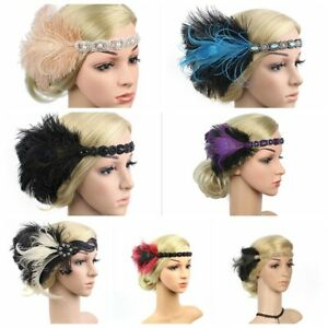 UK 1920s Headband Feather 20's Bridal Great Gatsby Flapper Gangster Headpiece