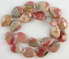 "26mm brown rhodochrosite flat teardrop beads 16"" strand L/D"