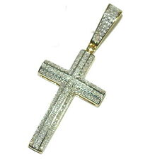 Gold Cross With Diamonds Real Gold Real Diamonds Mens Womens Pendant 10K .33ctw