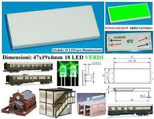 PIASTRA ILLUMINAZIONE 18 LED VERDI 4,5Vcc mm.47x19x4 PLASTICI EDIFICI SCALA N-HO