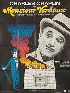 Original Vintage Poster 1973 Charlie Chaplin Movie Monsieur Verdoux Film Comedy