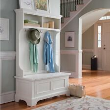 Home Styles Naples Hall Tree with Storage Bench, White