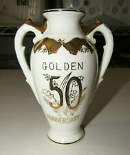 VINTAGE NORCREST WHITE FINE CHINA GOLD TRIM 50th ANNIVERSARY COMMEMORATIVE VASE