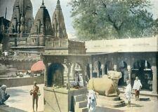 India, Benares, Gayan Bapi...Antique photochrom,late 19th C