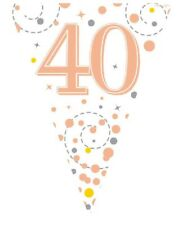 White & Rose Gold 40th Birthday Foil Bunting Pennant Banner Party Decoration