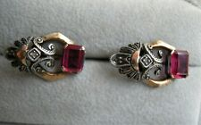 Antique Russian Ruby Diamond Rose & White Gold Earrings