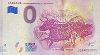 BILLET 0  EURO LASCAUX LE TAUREAU TRIDENT  2019 NUMERO 003