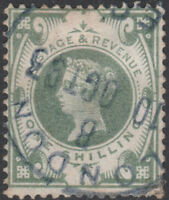 1887 JUBILEE SG211 1s DULL GREEN RARE BLUE LONDON CDS FINE USED