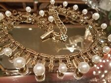 ~ SUPER New Auth Oscar de la Renta Swarovski Pearl Chain Necklace Signed Gold tn