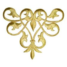 "Fleur De Lis Applique Patch - Metallic Gold Line Flow Motif 4.5"" (Iron on)"