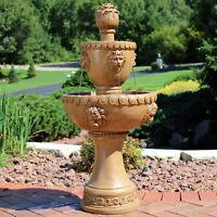 """Sunnydaze 2-Tier Contemporary Lion Outdoor Water Fountain Backyard Feature - 41"""""""