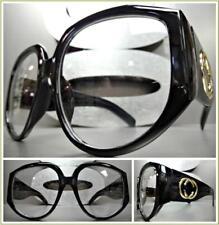 Men Women OVERSIZED VINTAGE RETRO Style Clear Lens EYE GLASSES Thick Black Frame