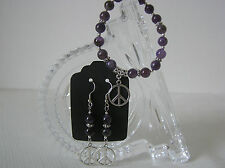 Hand Crafted Silver Tone Genuine Amethyst Bead Bracelet and Earrings Set