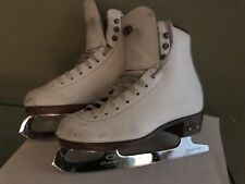 Girls Size 13 Youth Riedell White Model 33 Figure Ice Skates Quest Topaz Blades
