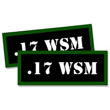 "17 WSM Ammo Can 2x .17 WSM Labels Ammunition Case 3""x1.15"" sticker decals 2 pack"
