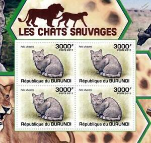 AFRICAN WILDCAT Wild Cats Animal Stamp Sheet #4 of 5 (2011 Burundi)