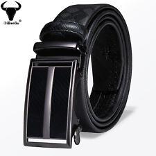 Formal Black Leather Mens Belts Automatic Buckles Ratchet Waist Straps S M L 2XL