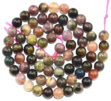 6mm Natural Multicolor Tourmaline Round Gemstone Beads 16''