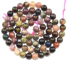 6mm Natural Multicolor Tourmaline Round Gemstone Beads 16''