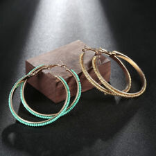 1 Pair Big Large Round Circle Beaded Decor Hoop Hoops Earrings Jewelry Gift G