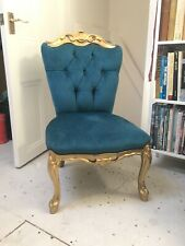 OCCASIONAL TEAL/GOLD LOW SEAT BEDROOM/HALL CHAIR
