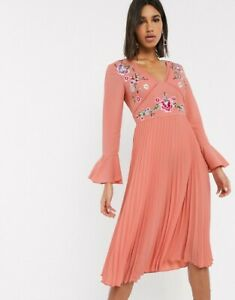 ASOS embroidered pleated midi dress lace inserts spring racing dusky pink Sz 10