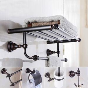 Oil Rubbed Bronze Wall Mounted Towel Rail Rack Bar Bathroom Accessories Set