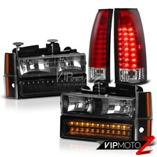 1988-1993 Chevy C1500 C2500 K1500 K2500 Front Headlamps Red LED Tail Lights Lamp