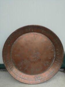 Grande piatto in rame battuto a mano ed inciso 2.6 kg 64 cm diametro