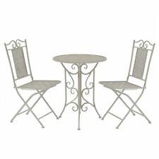 vidaXL Bistro Set Three Piece Outdoor Garden Patio Table and Chair Steel Grey