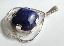 Anhänger blauer marmorierter Edelstein Silber 925 Vintage 70er silver pendant