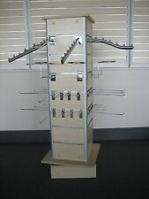 REVOLVING 4 SIDED SLATWALL RETAIL DISPLAY UNITS in OAK COLOUR - TO BE CLEARED