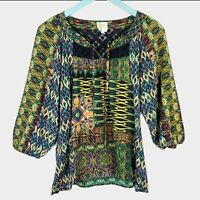 Anthropologie Fig and Flower Boho Peasant Blouse Top Size M Medium
