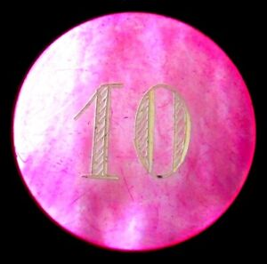 CASINO 10 VALUE MOTHER OF PEARL DOUBLE RADIANT HOT PINK ROUND POKER CHIP