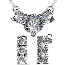 BRILLIANT TRILOGY NECKLACE AND EARRINGS SET FT CRYSTALS FROM SWAROVSKI KCTS566WG